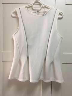 Off white peplum zipper design top