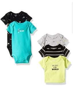 🚚 *6M* Brand New Carter's 5-Pack Short Sleeve Bodysuits For Baby Boy