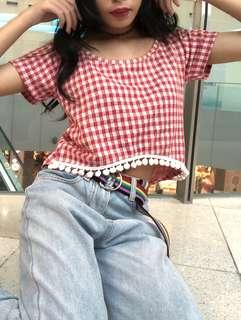red gingham baby doll pom pom crop top