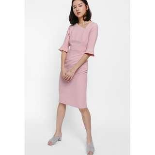 Love bonito Haisey Asymmetrical Neck Bell Sleeve Dress