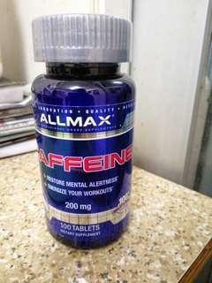 ALLMAX Nutrition Caffeine , 100%純咖啡因片 +容易切成兩半的藥片,200毫克,100粒 提神 專注 21年5月到期 現貨