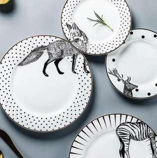 The Fox Done It Again Ceramic Plate Set of 2