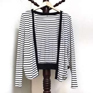 Striped Back-cropped Cardigan #MY1212