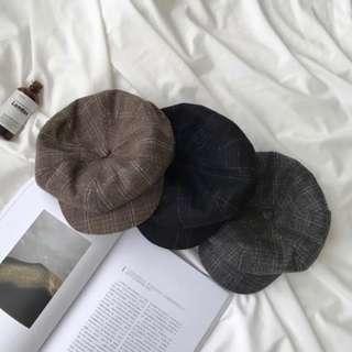 🚚 咖啡色格紋報童帽 休閒鴨舌帽