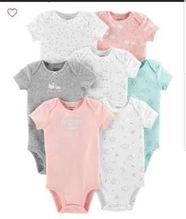 🚚 *9M* BN Carter's 7-Pack Short Sleeve Bodysuits For Baby Girl