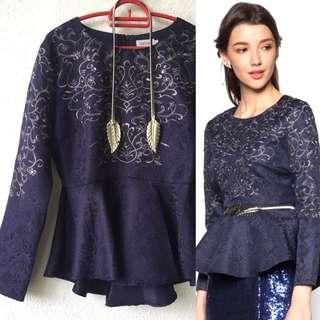 Zalia Peplum Embroidery Top with Belt
