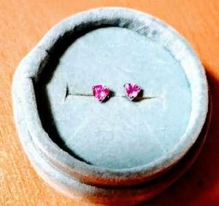18k金紅寶石耳環