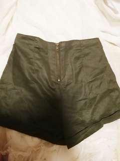 CO Olive Suede Highwaist Shorts