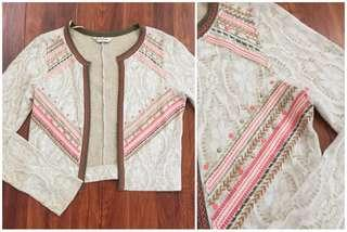 Miss Selfridge Lace Aztec Bohemian Cardigan / Jacket