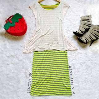 404 || Stripe Neon Green Dress