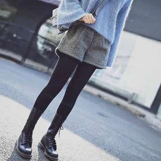 🚚 預購 料子好👍毛呢短褲女冬款高腰闊腿褲