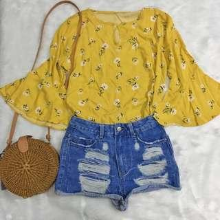 Yellow bell top with cut outs