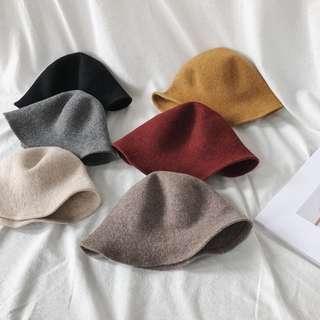 🚚 店主推薦入!顏色超好看秋冬復古毛呢圓頂帽毛呢帽