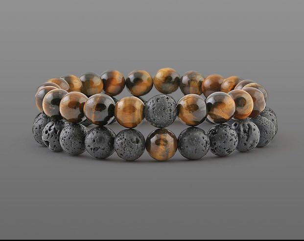 2 Pcs/set Fashion Couple Tiger Eye Stone Bracelets Bangles Classic And black Natural Lava Stones