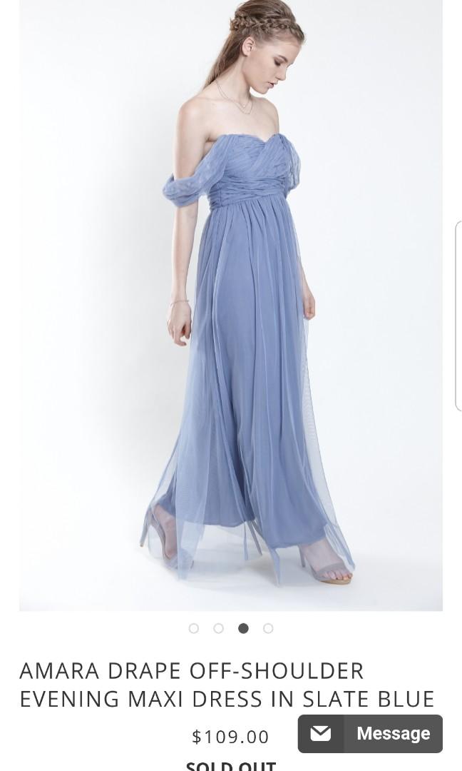 Amara Drape Off Shoulder Evening Maxi Dress In Slate Blue S