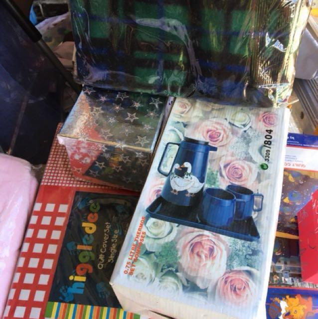 Bed sheets, photo albums, tea set, bath set and more pay as you feel