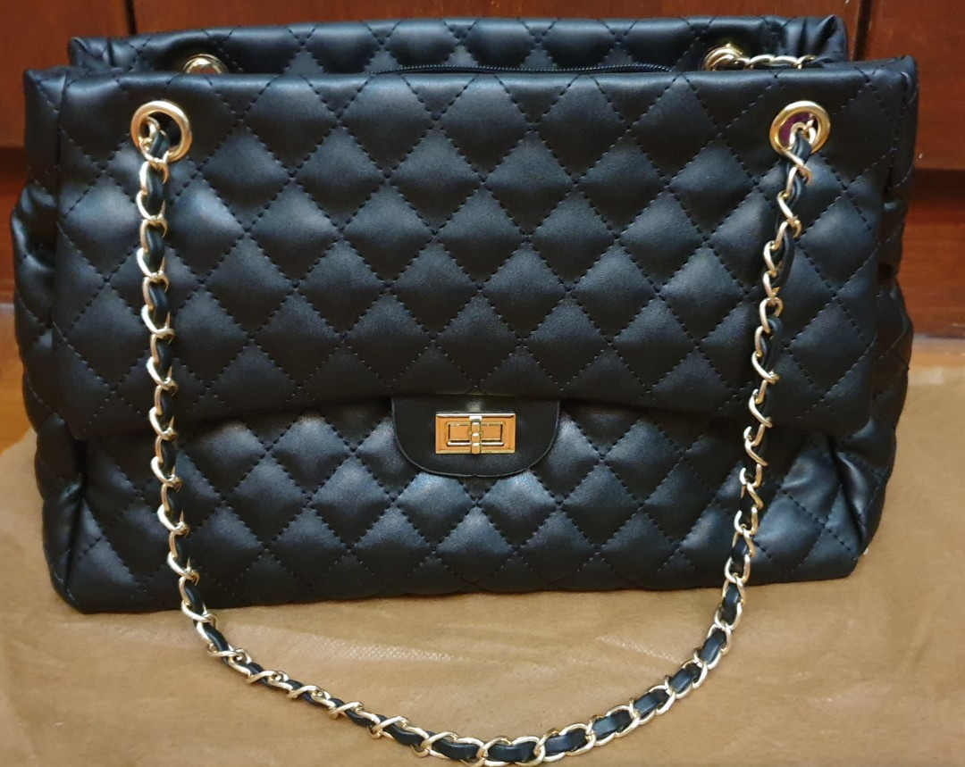 Black Quilted Bag with Gold Chain Strap,