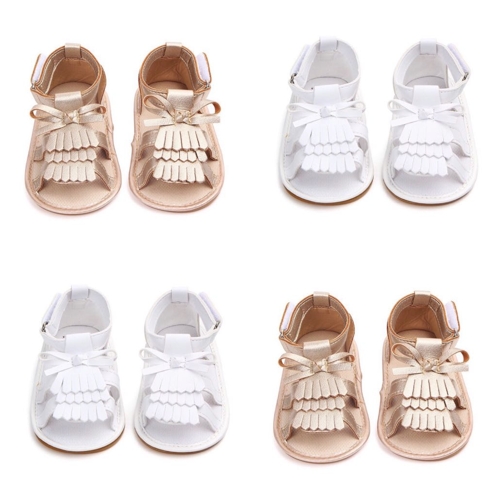 34aba215568d BN Baby Girl Gold White Tassel Bow Sandals Shoes First Walkers 6 ...