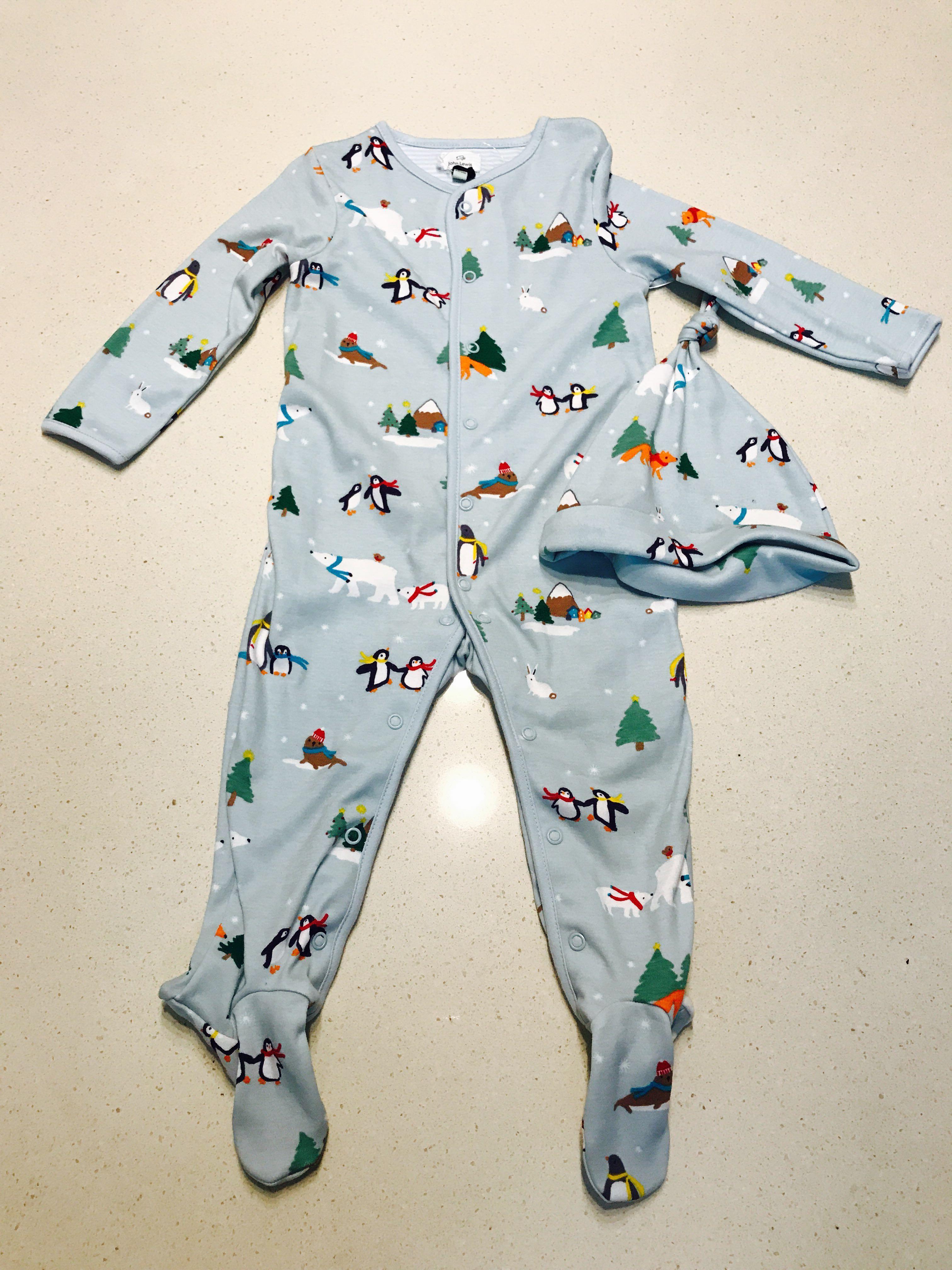 ce5cf3401 Brand New John Lewis UK Christmas Wonderland Penguin Polar Bears Joy Love  One piece Sleepsuit With Hat (like Mothercare le petit sea apple gap next  ...