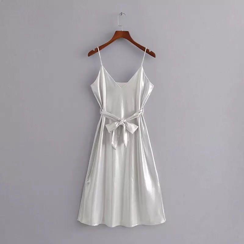 31490824 Brand New ZARA alike Spaghetti Silver Dinner / Christmas Dress ...