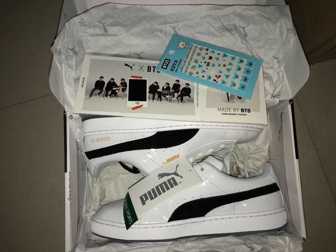 promo code 9ef6e c314c BTS X PUMA Basket Patent Sneakers, Women's Fashion, Shoes ...