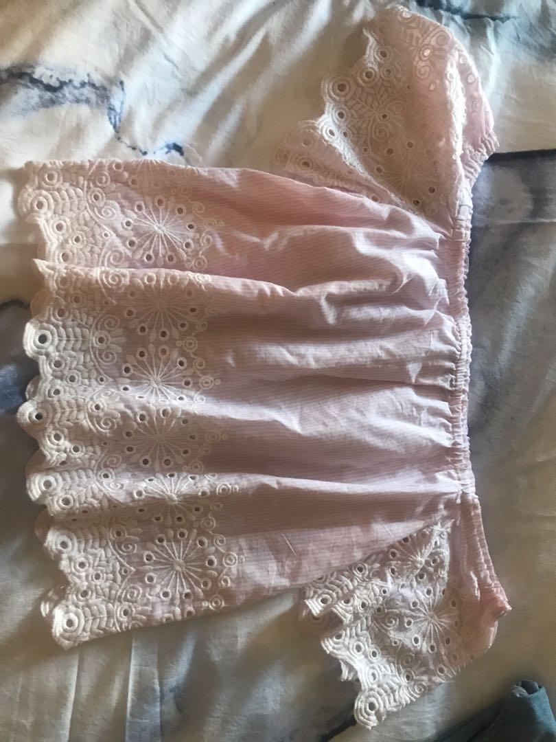 Candy Pink/White Lace Off Shoulder Top
