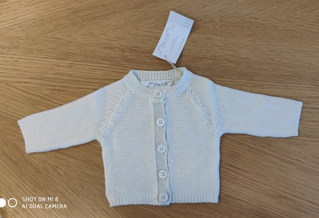 99fef879e Chateau de sable Baby Boy White Knit Cardigan