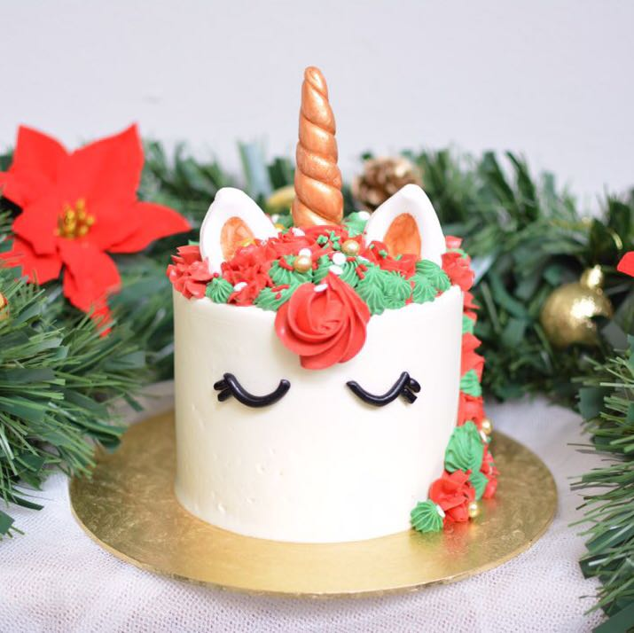 Christmas Unicorn Cake Food Drinks Baked Goods On Carousell
