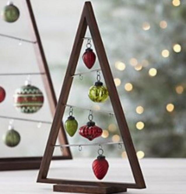 Crate Barrel Wooden Xmas Tree With 10 Pieces Ornaments Set
