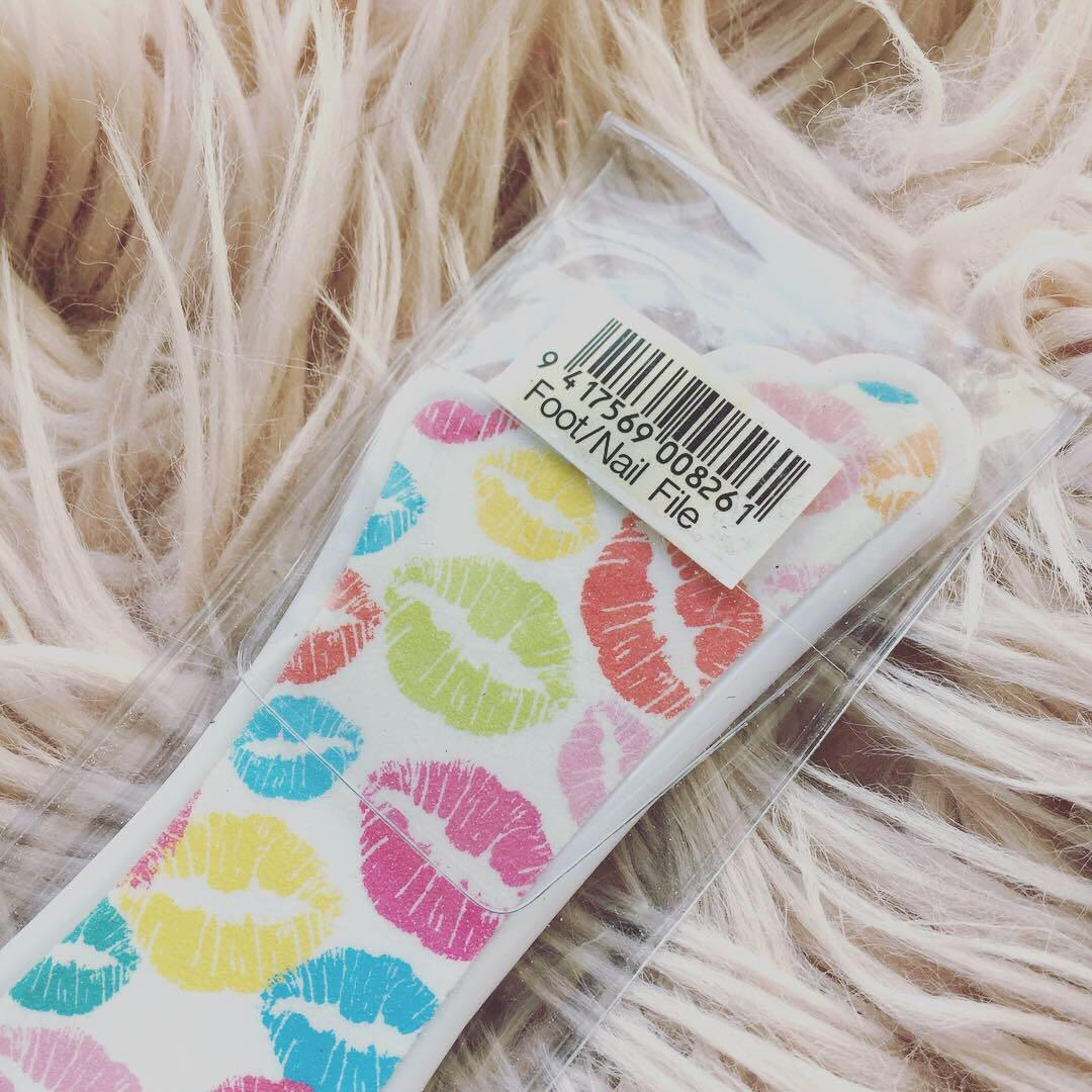 Foot & Nail File | Multi-Coloured Kisses Details | Brand New in Original Packaging