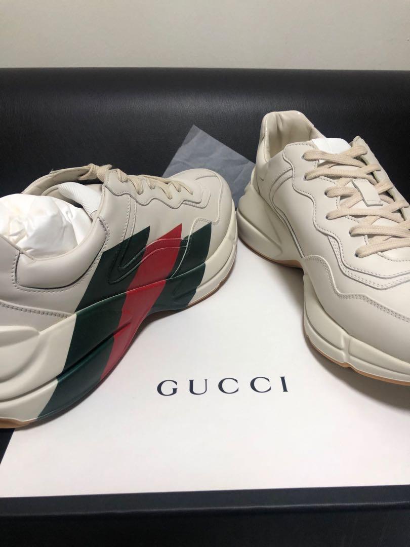 07f2f0982f5 Gucci Rhyton Leather Web Print Sneaker US 11