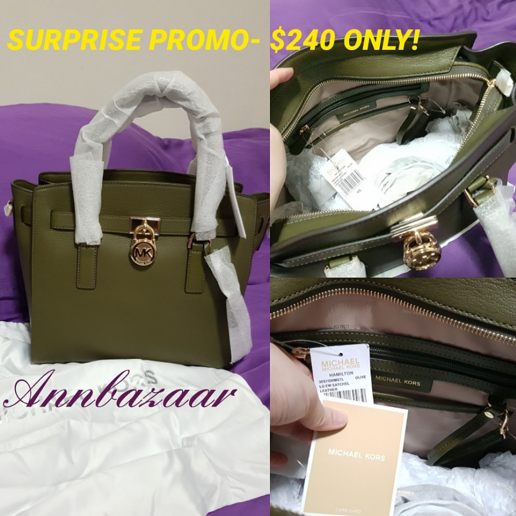 37b421f24f43 INSTOCK SURPRISE PROMO! Michael Kors Hamilton Large Hand Bag (100 ...