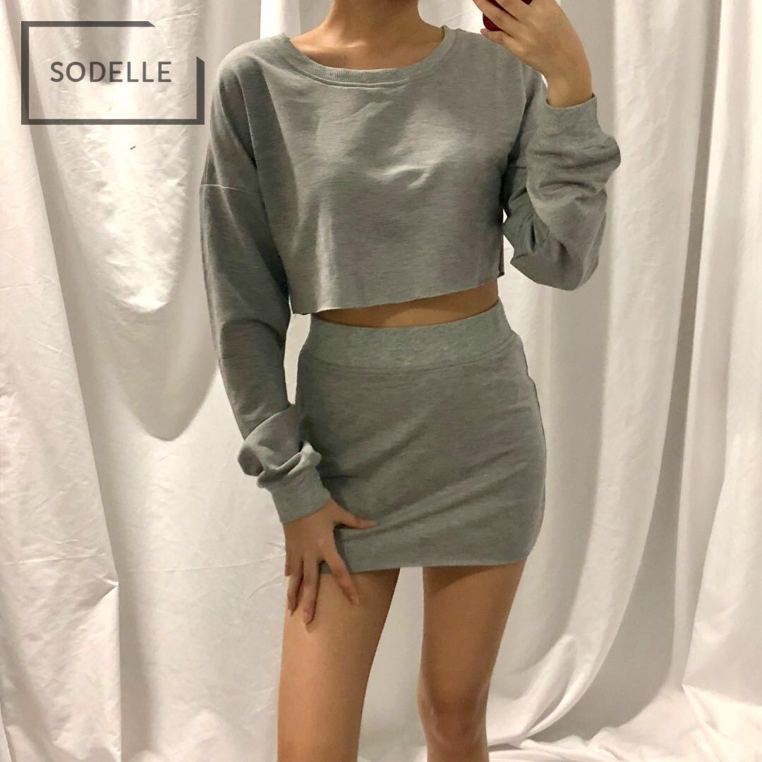bb0b6d6e44d9 INSTOCKS 2 piece set crop sweater + bandage skirt (GREY), Women's ...