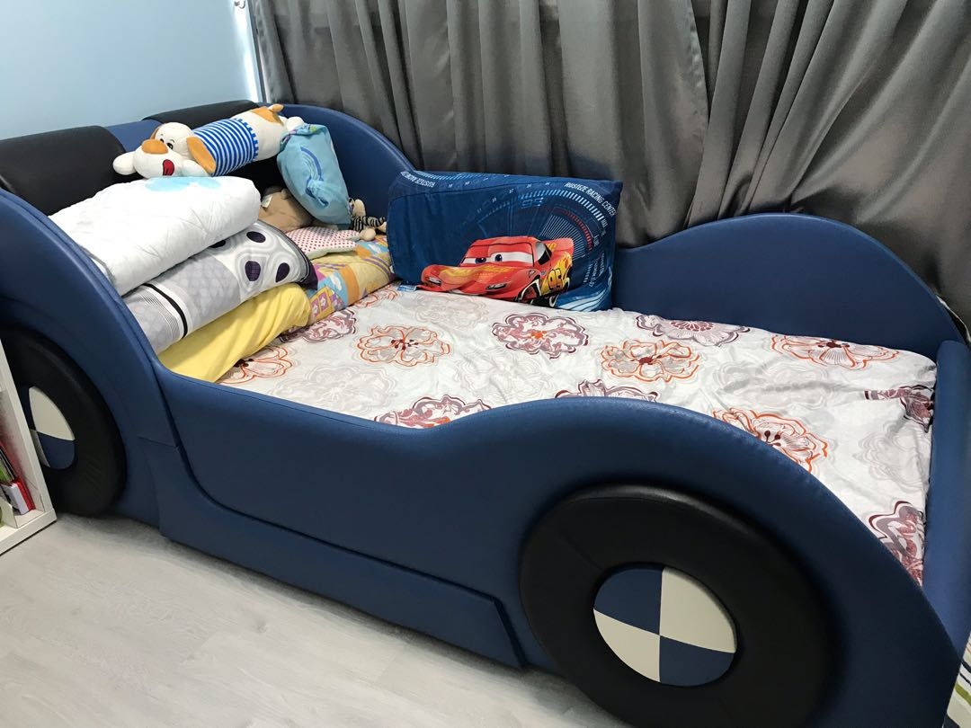 Kids Blue Car Bed Frame Furniture Beds Mattresses On Carousell