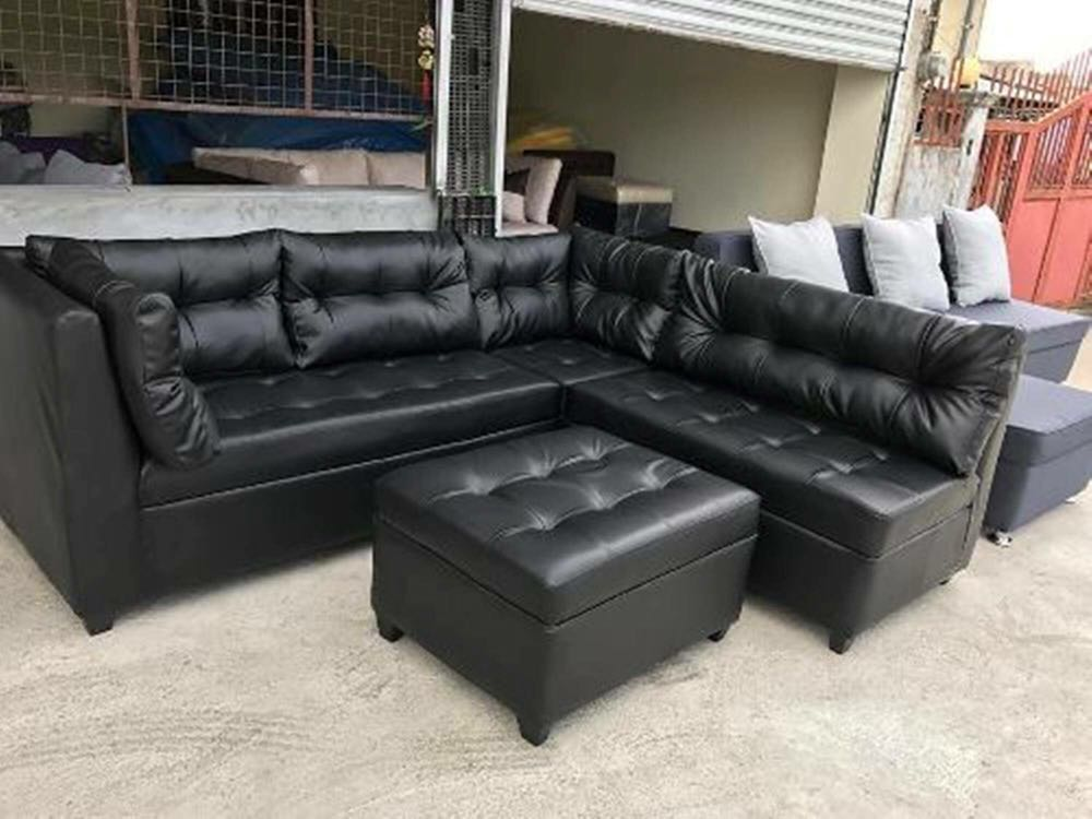Black Leather Sofa Set Uratex Foam