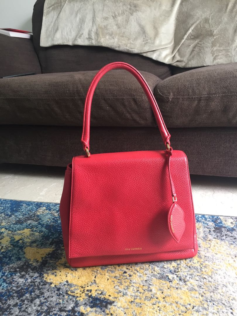 9e279f44ccb5 Lulu Guinness Large Rita Red Grainy Leather