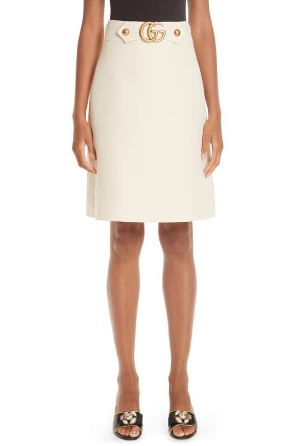 e79d360716b Marmont Wool   Silk Cady Crepe A-Line Skirt