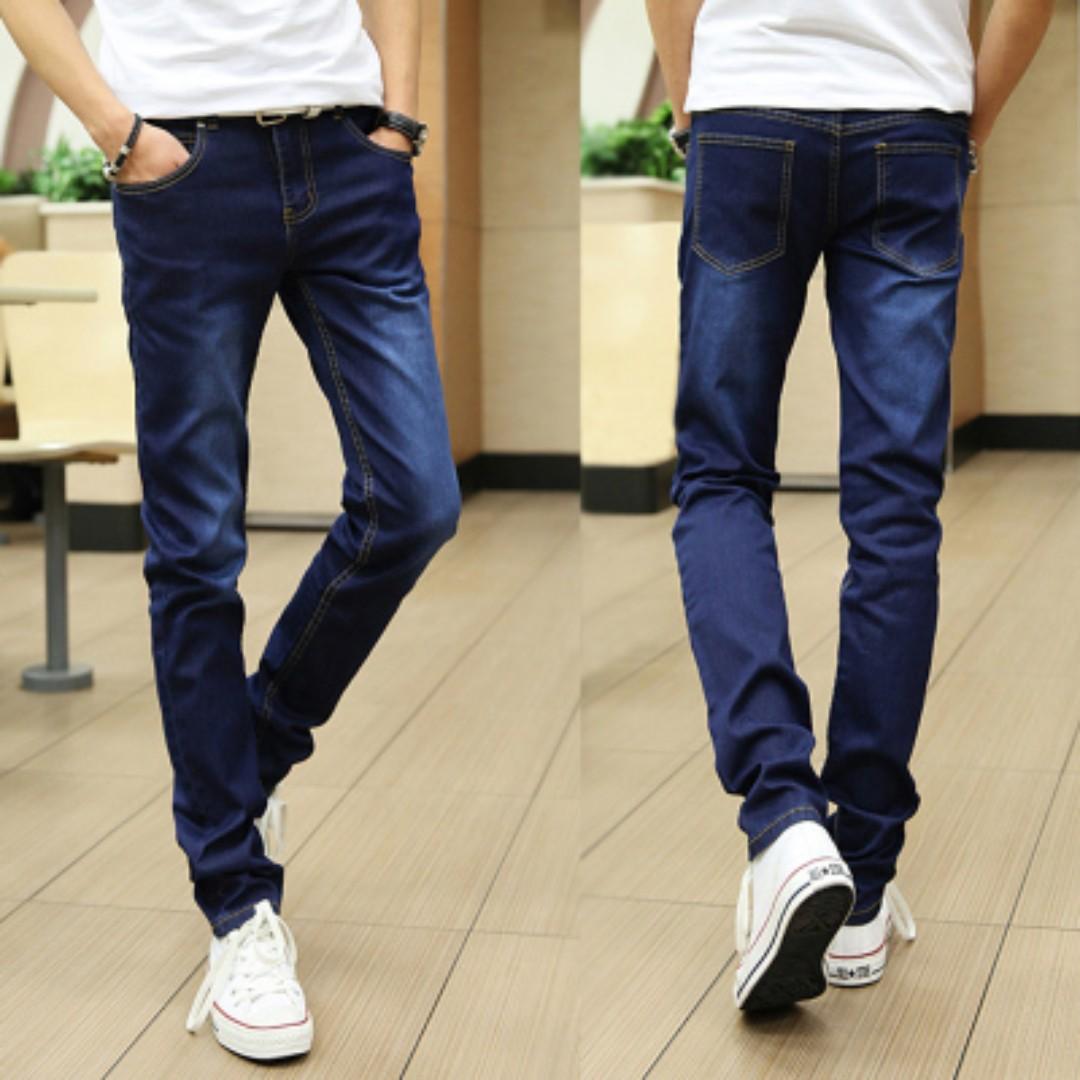 30c6c5f5ffac Men s Korean Youth Pop Style Middle Waist Straight Slim