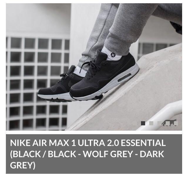 NEW 875679 002 MEN'S NIKE AIR MAX 1 ULTRA 2.0 ESSENTIAL SHOES !! BLACKBLACK | eBay
