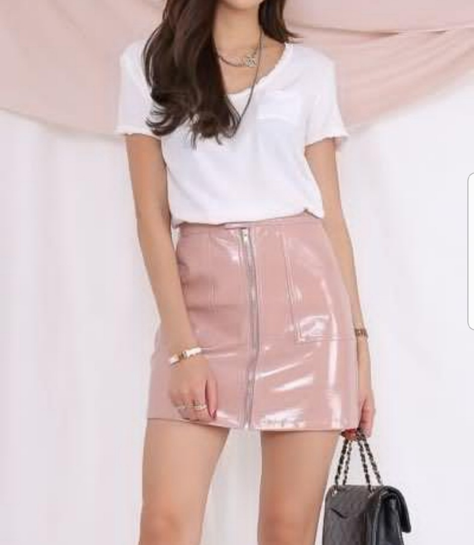 cf696a317 Patent Leather Skirt Pink