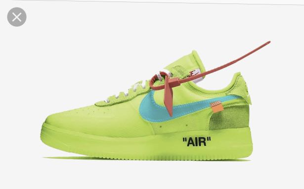 d7f8043feeadc Off white X Nike Air Force 1 V2(volt), Men's Fashion, Footwear ...