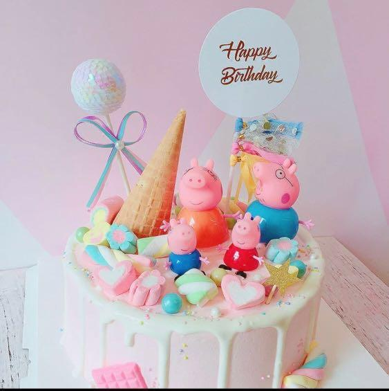 Outstanding Peppa Pig Figurines Birthday Cake Topper Toy Display Design Funny Birthday Cards Online Overcheapnameinfo