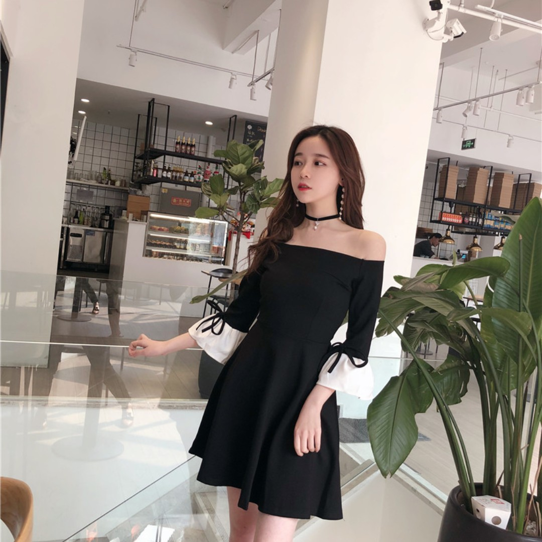 Po Velda S Black Off Shoulder Dress With White Ruffle