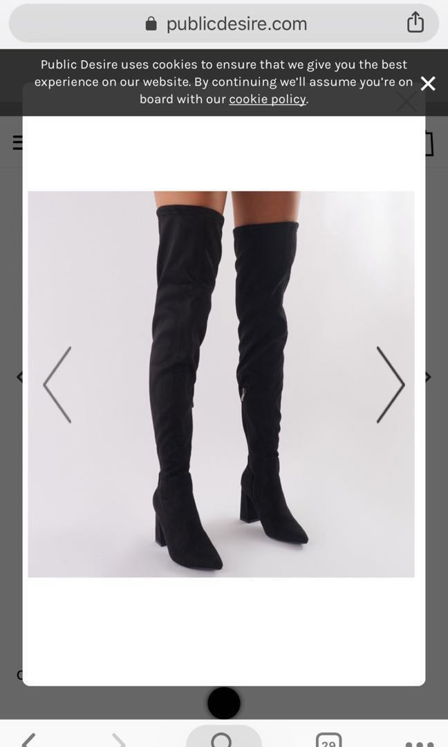 cb4d970d1b597 PUBLIC DESIRE RAPTURE OVER THE KNEE BOOTS IN BLACK FAUX SUEDE ...