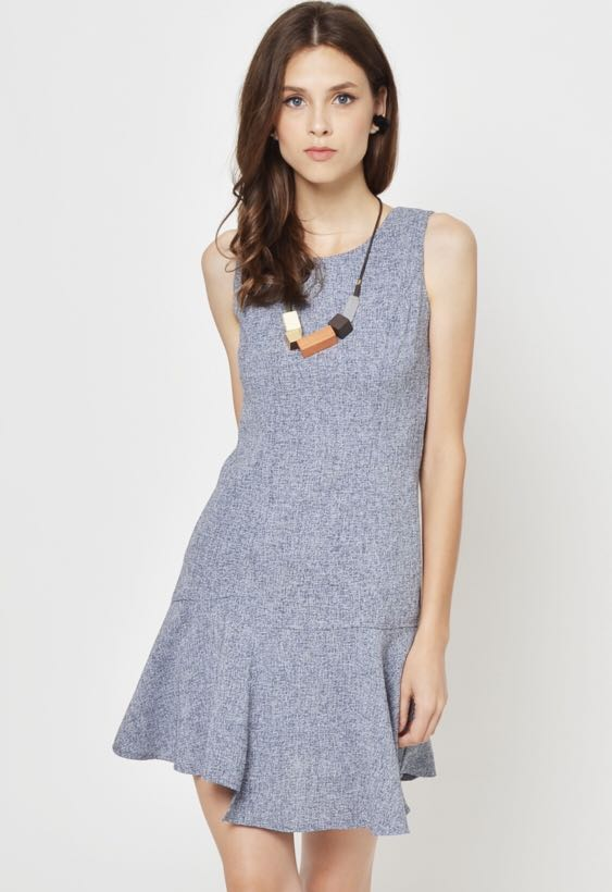 ac37087e8e3 Ryanne Soft Tweed Dress (Blue) (brand new with tag)