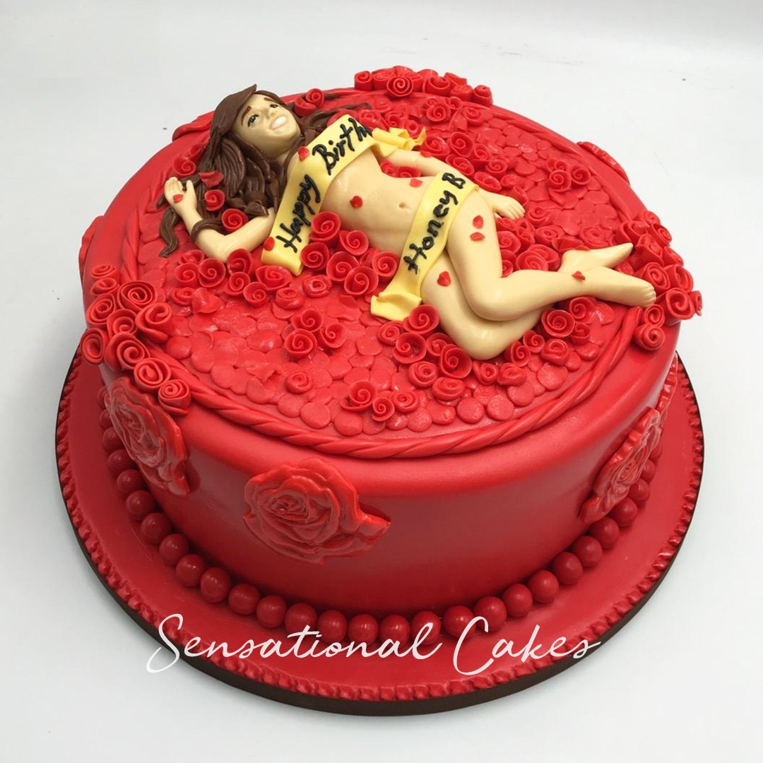 Sexy Lady Red Roses Design Wife Birthday Woman Theme 3d Custom Cake