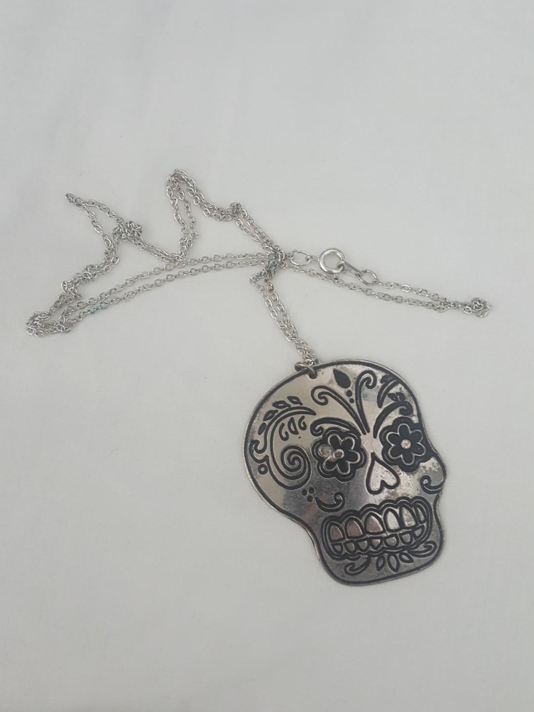 Sugar skull silver necklace