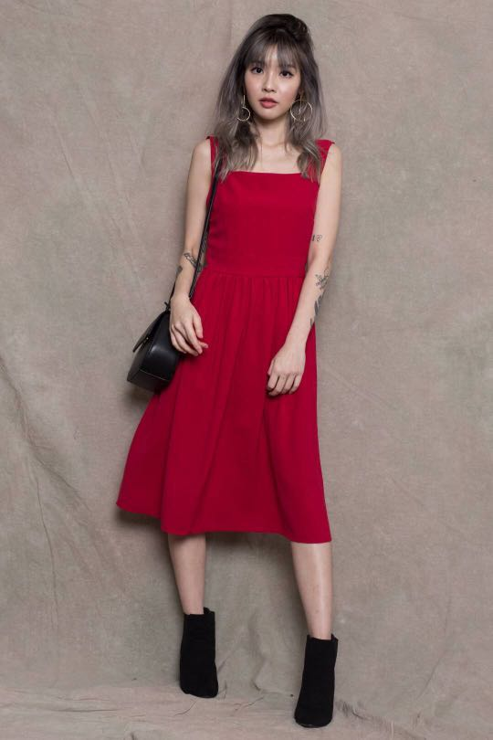 a387a98bf1c1 YOUNG HUNGRY FREE] Dance With Me Dress in Cherry Red, Women's ...