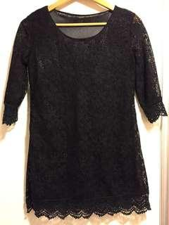 黑色蕾絲上衣 black lace top party dress