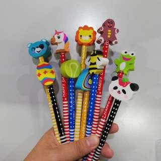 10 pcs Pencils with erasers